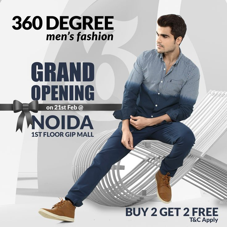 #Noida! Get ready to shop with 360degree !  Join us on Wednesday, Feb 21 after 11AM, to witness the grand opening of Delhi/NCR's first 360degree store at The Great India Place, Noida. We'll have plenty of surprises & offers for fashion lovers..  #Grand Opening Offer.. #Buy2Get2Free