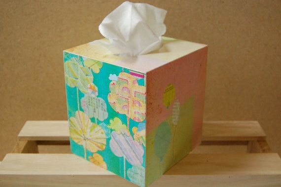 Candy Floss Skies Tissue Box by PaperedWoods on Etsy || Perfect for a baby shower gift!