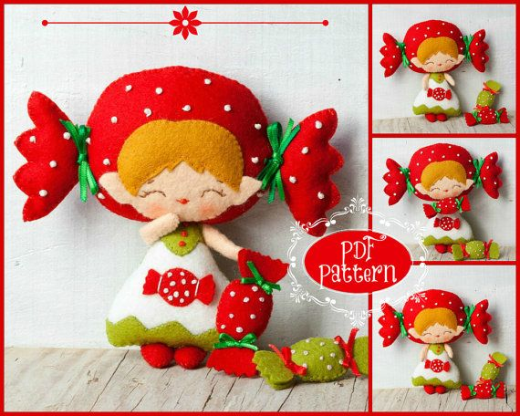 PDF. Candy and candy cane elves. Plush Doll Pattern par Noialand