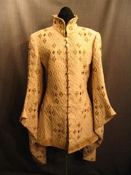 Tunic Medieval Houppelande, beige, gold,