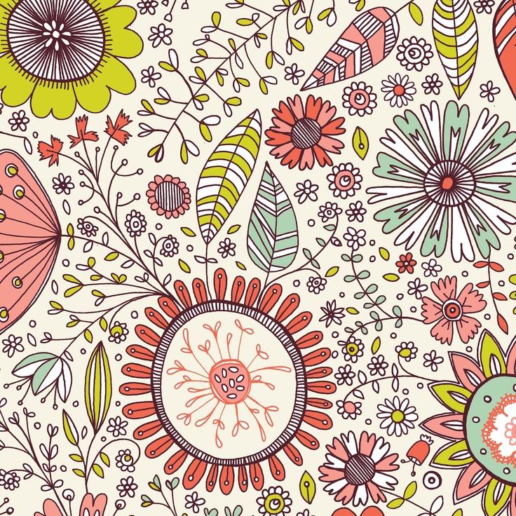 Pink Parakeet: Floral Repeats - gorgeous! By Caroline Pratt