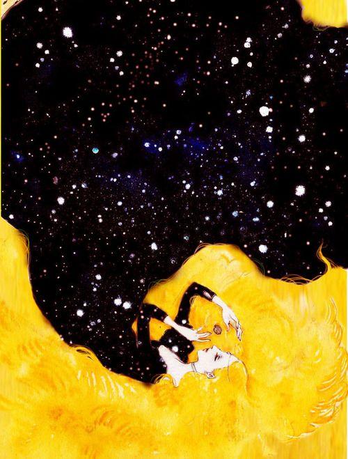 """千匹皮 by 銀河博覧会 [pixiv] / Allerleirauh by 銀河博覧会 : """"I must have three dresses: one as golden as the sun, one as silver as the moon, and one that glistens like the stars."""" / """"Allerleirauh (German """"All-Kinds-of-Fur"""", sometimes translated as """"Thousandfurs"""") is a fairy tale recorded by the Brothers Grimm."""""""