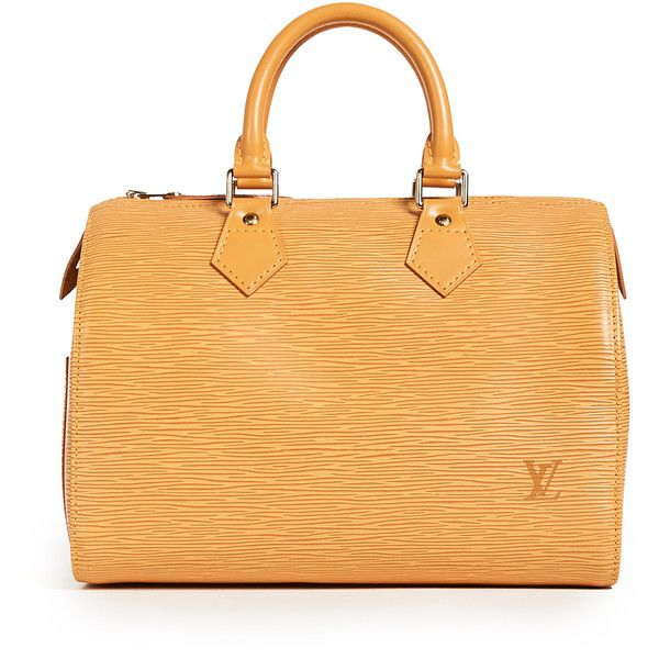 Pre-owned What Goes Around Comes Around Louis Vuitton Speedy Bag... (48,530 THB) ❤ liked on Polyvore featuring bags, handbags, orange, leather handbags, genuine leather handbags, beige purse, orange purse and embossed leather purse