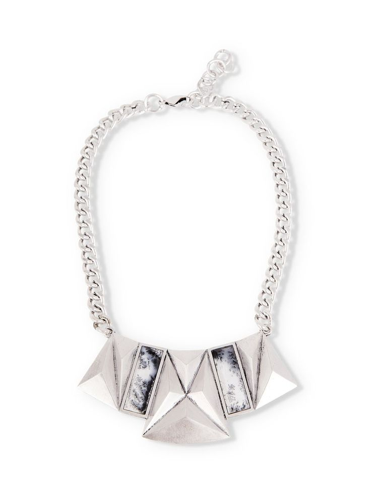 Sterling Silver Geometric Pendant Necklace with Emerald Cut Dendritic Agate Stones on  Thick Chain