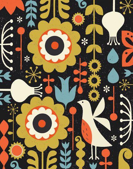 Uccelli in giardino arte stampa, tema del giardino, arte popolare