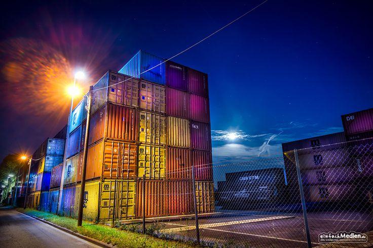 Fotografie Karlsruhe rheinhafen karlsruhe hafen container karlsruhe rheinhafen nachtaufnahme nacht
