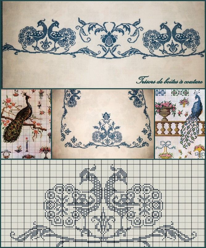 Two Peacocks (Deux Paons)  free cross stitch pattern download on Tresors de Boites a Couture (site in French) at http://www.tresorsdeboitesacouture.fr/2012/02/18/deux-paons/