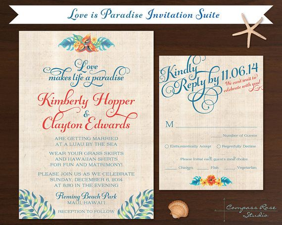 Tropical Wedding Invitation Hawaiian by CompassRoseStudio on Etsy