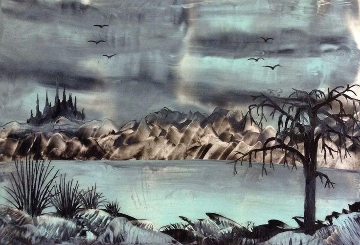 Encaustic fantasy painting - landscape