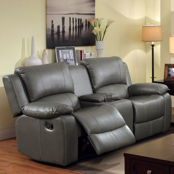 Furniture of America Rembren Grey Bonded Leather Reclining Loveseat with Console