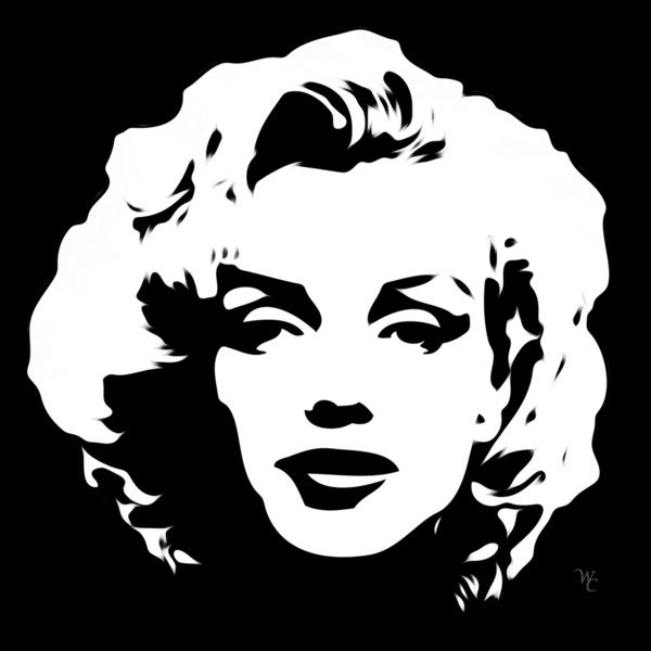 Marilyn Monroe - Black and White - Pop Art Art Print