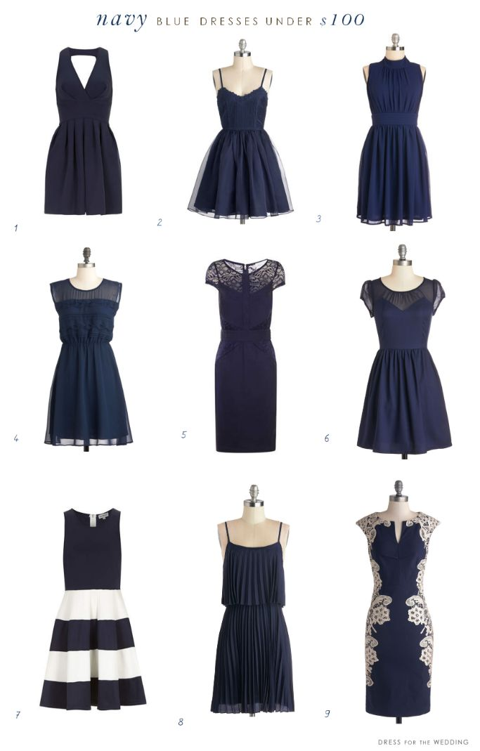All but the patterned ones would work stylish navy dresses under $100! via @dressforwedding