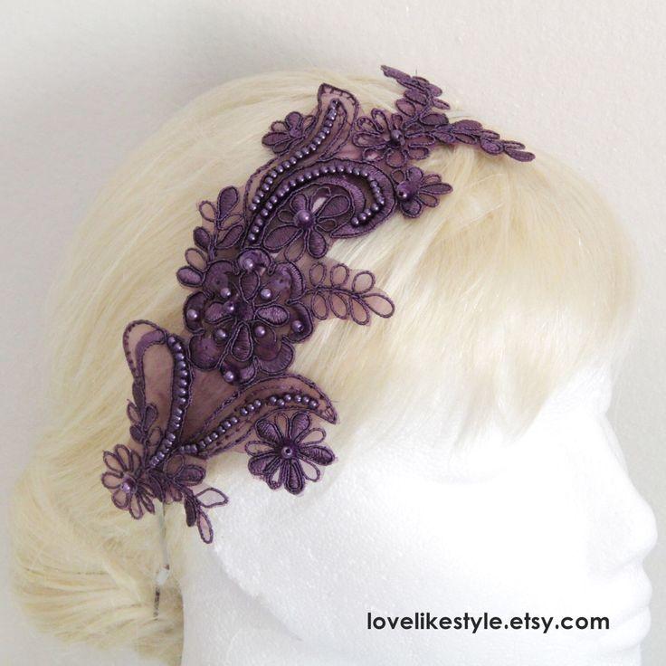 Plum  Beaded  Lace Headband , Bridal Dark Purple Lace Headband, Plum  Lace Head Piece by lovelikestyle on Etsy https://www.etsy.com/listing/202283178/plum-beaded-lace-headband-bridal-dark