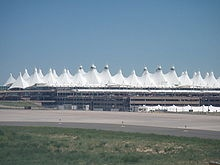 """""""The Teflon-coated fiberglass roof of Denver International Airport resembles the area's famous Rocky Mountains"""""""