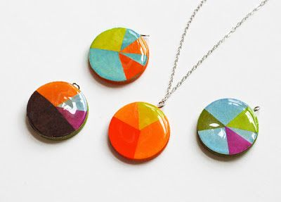 Pendants with cardboard and paper images. Sealed with Mod Podge/etc. ..............Use paper clip instead of jump ring. Finish edges with marker or nail polish.