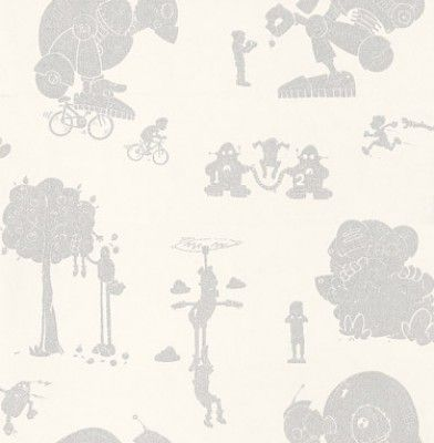 Brave New World (BNW/WP/WHSIL) - PaperBoy Wallpapers - A children's wallpaper with a friendly world class robot playing various games including hide and seek and bicycle races. Shown here in white and silver colouring - more colours are available. Please request a sample for true colour match.