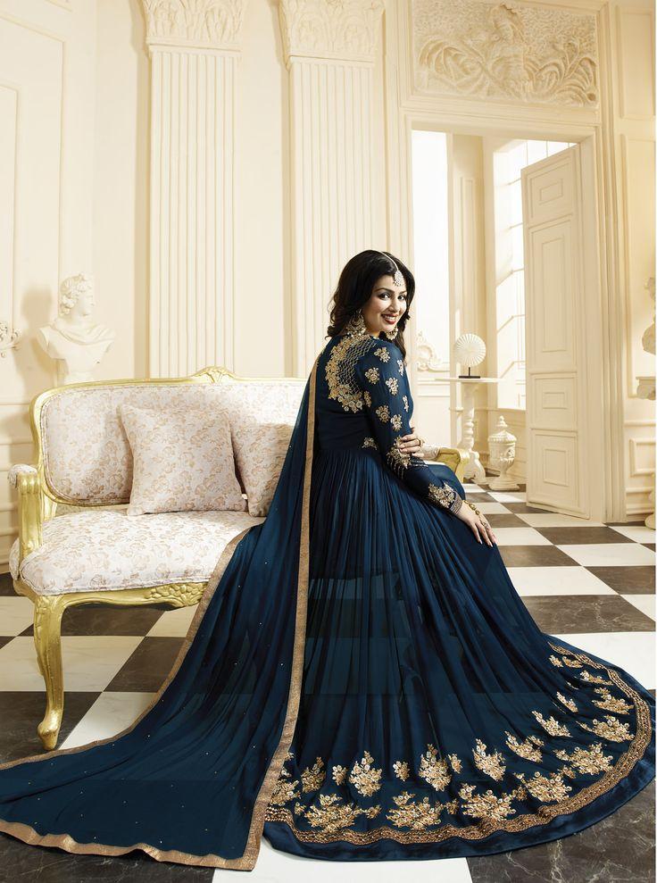 #Blue #Golden #Embroided #Anarkali #Salwar #Suit
