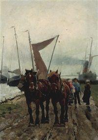 Trekpaarden aan de waterkant by Frans van Leemputten