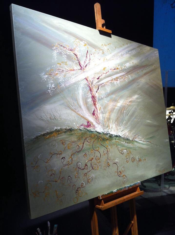 """The Sword guarded the Tree"" Painted live in 30 mins worship at DaySpring Church, Sydney, Bill Johnson Conference 2013. #wendymanzo #propheticart #worshipart #liveart #speedpainting #billjohnson"