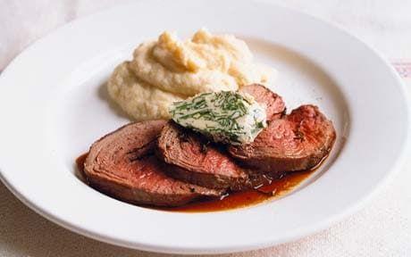 Roast boneless roebuck (venison) haunch with wild garlic butter and celeriac purée - Telegraph
