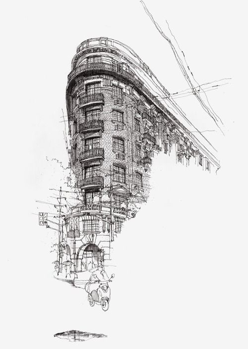 This sketch was effectively rendered using the techniques of hatching and crosshatching to show the tone and form of the building.