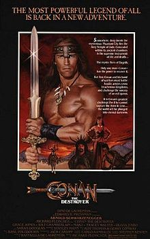 "He'll be back: Arnold returns as Conan with his barbarian band. The quest: Bring Valaria back from the dead. Written by Roy Thomas and Gerry Conway (the comic book ""Conan"")."