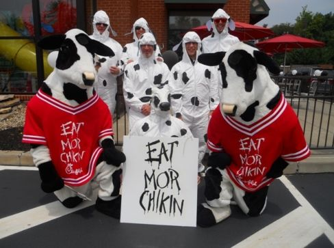 Free meal at Chick-Fil-A on July 14 for dressing like a cow.  Guests fully dressed head to toe in cow attire may select any breakfast, lunch, or dinner meal for free. Kids fully dressed like a cow may select a kids meal.