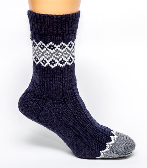 Navy Blue Fair Isle Socks by byhandbyjean on Etsy  CN: I love the clean simplicity of this. Would copy them, probably.