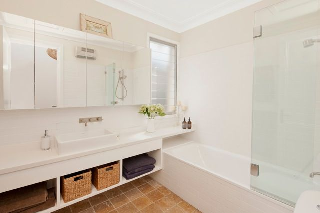 kids bathroom, no smeely under cabinets - stylish storage for all the bnathroom clutter double sinks for the girls....great tiles, no slip love the fresh space we created