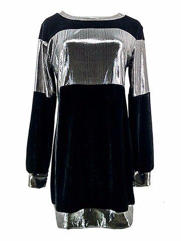 Newchic Women Casual Velvet Patchwork Long Sleeve O-neck Mini Dress