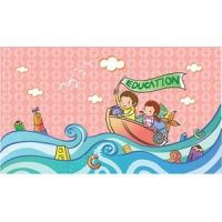 two cute clip art children on education sailing boot vector kids illustration