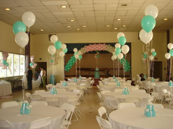 124 best images about tiffany blue baby shower on for Baby shower hall decoration
