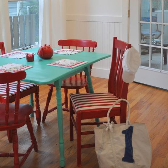 aqua and red kitchen - Google Search