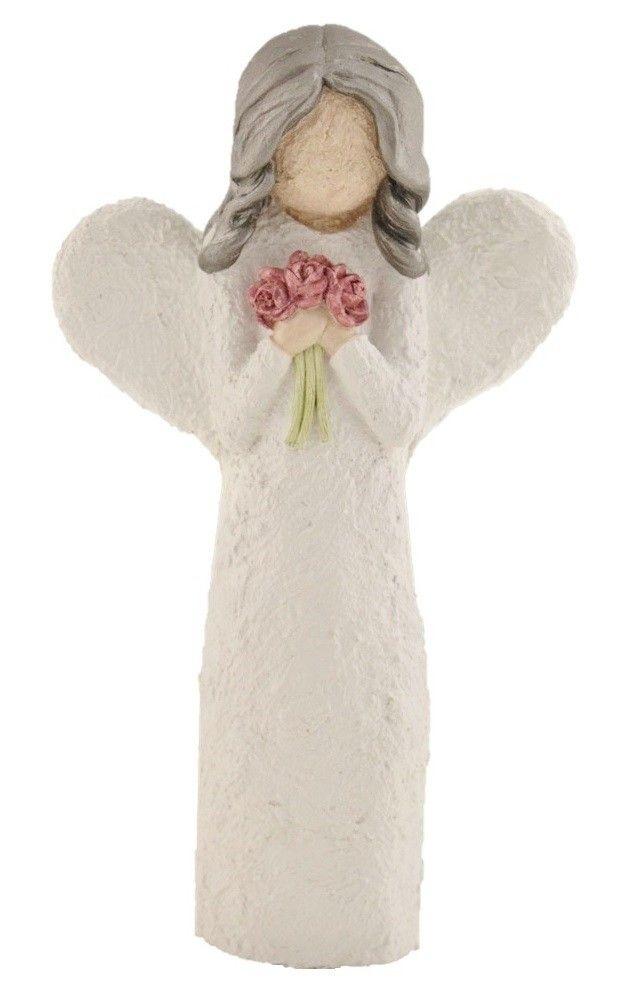 Engel Med Blomsterbukett - Farge Hvit, Sølv Hår