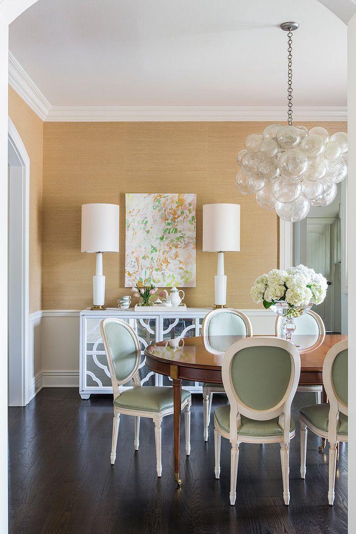 Fresh and summery dining room with Oly Studio Muriel Chandelier www.olystudio.com