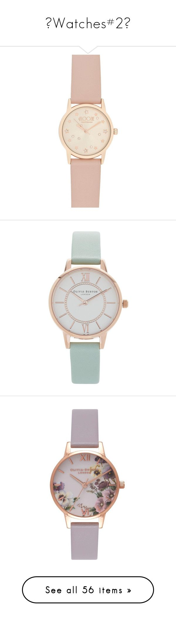 """♥Watches#2♥"" by lessalice ❤ liked on Polyvore featuring jewelry, watches, star jewelry, round watches, dial watches, accessories, mint, leather-strap watches, mint jewelry and rose watches"