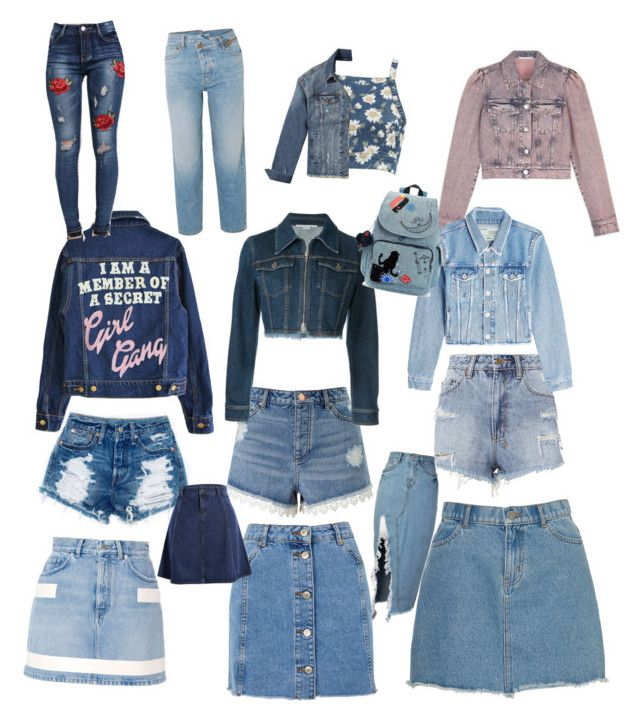 Denims by sweetmoegee on Polyvore featuring polyvore, fashion, style, Show Me Your Mumu, STELLA McCARTNEY, Off-White, Hollister Co., Topshop, Givenchy, Miss Selfridge, Ksubi, Monse, Pilot, storets, Kipling, clothing and denimskirts