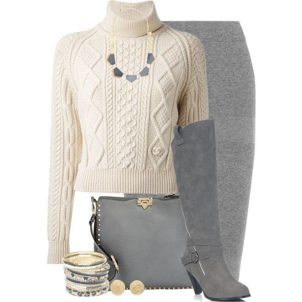A fashion look from September 2014 featuring Chanel sweaters, Reed Krakoff skirts and JustFabulous boots. Browse and shop related looks.