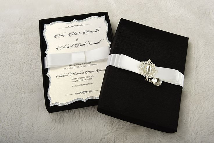 Veronica Invitation box: Handmade, silk, satin and a luxurious embellishment, black elegance, this is a real showstopper invitation boxes. Boxed Wedding Invitation.
