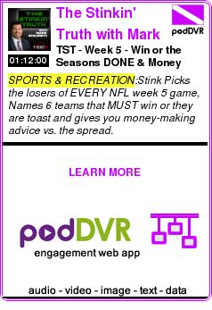 #SPORTS #PODCAST  The Stinkin' Truth with Mark Schlereth    TST - Week 5  - Win or the Seasons DONE & Money Makers - Ep 91    READ:  https://podDVR.COM/?c=42f1f240-897d-6c1e-0d41-76b4999758d9