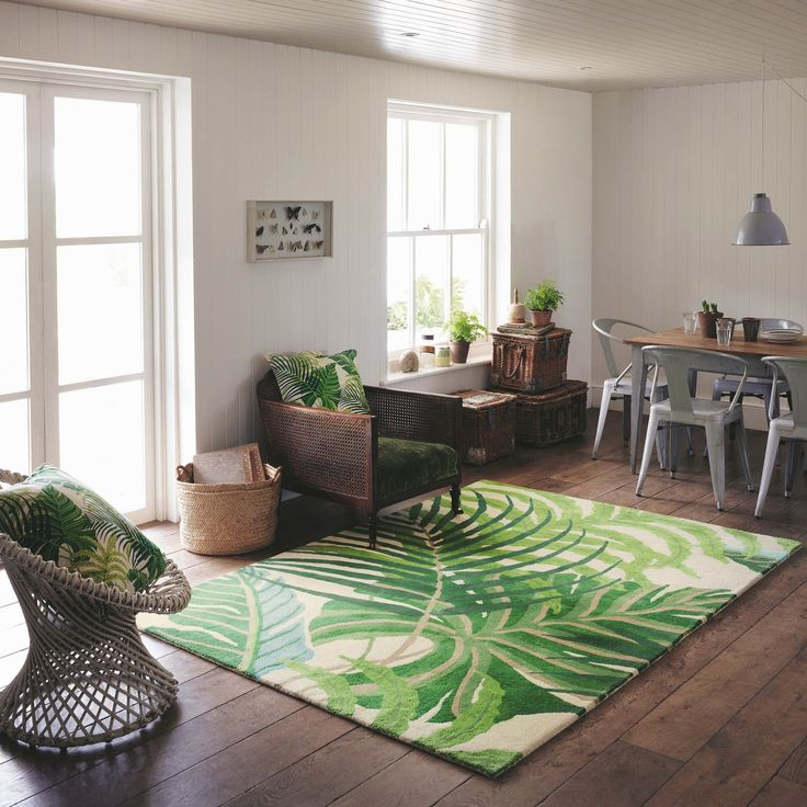 Love the tropical home styling vibe? Why not add a touch of the tropics to your floor, with this green Manila Sanderson rug.