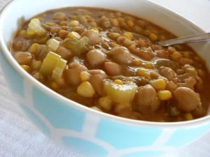 Low-Fat Vegetarian White Bean Chili Recipe: Vegetarian white bean chili with celery and corn