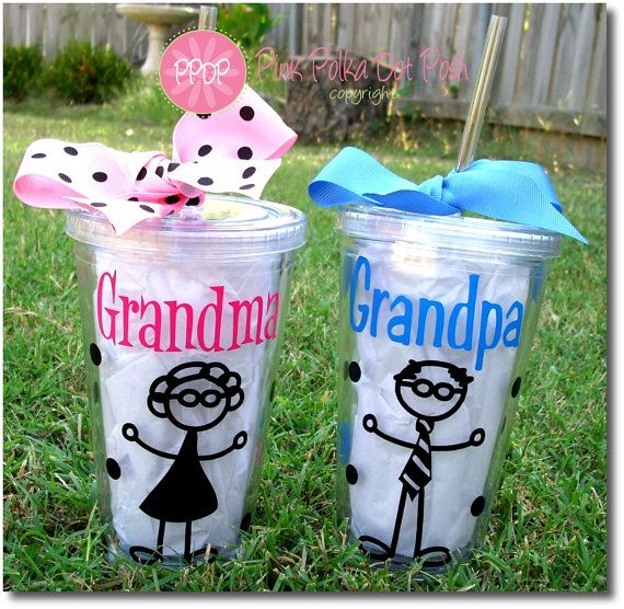 Grandma and Grandpa tumblers............easy easy easy to do with my cricut!!!!....