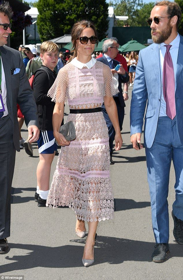 Strutting her stuff: Pippa opted for a dress from Self Portrait a brand loved by Beyonce, ...