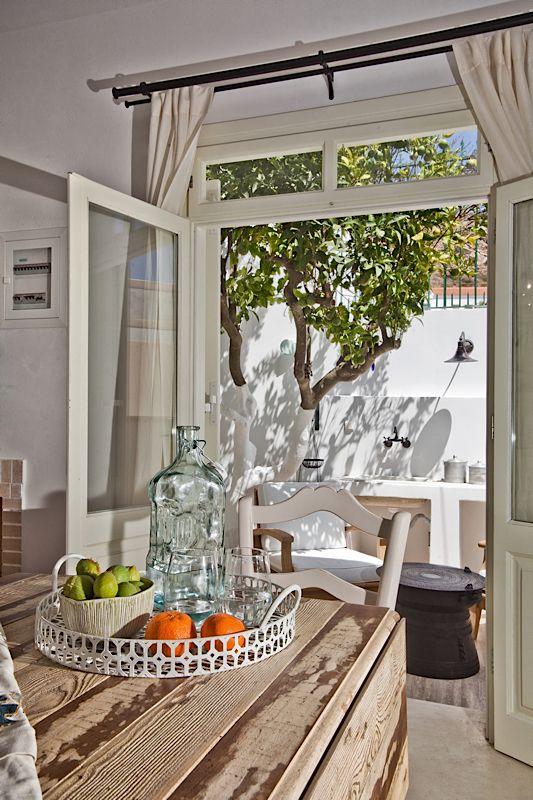 Architecture & Interior design by DESIGN LAB VI, traditional White House in Othos Karpathos, Greece. #designlabvi, #karpathos Greek living, kitchen patio,   www.designlabvi.com