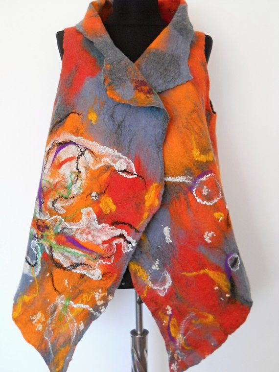 Chic Clothing  Women's vest  Gray felted vest  by FeltNunoFelted