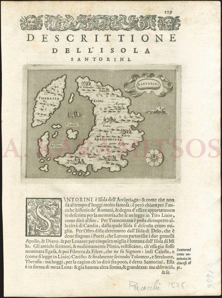 """PORCACCHI Da Castilione T., """"SANTORINI / Descrittione Dell'Isola di Santorini..."""""""