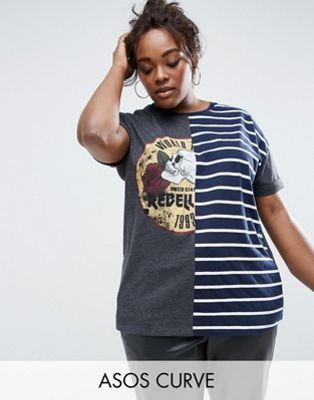 ASOS Curve | ASOS CURVE T-Shirt with Frankenstein Cutabout Print and Stripe