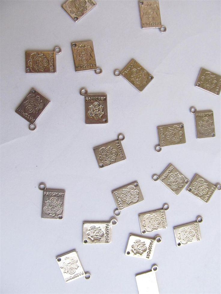 Silver tone metallic charms 16mm (10 pcs)