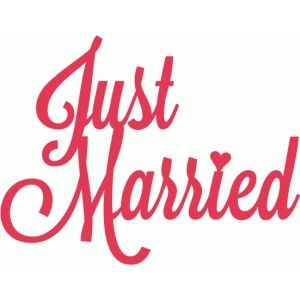 Silhouette Design Store: just married script lettering title